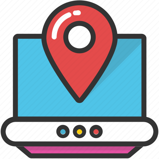 gps navigation, laptop pin map, map location, online gps, online navigation icon