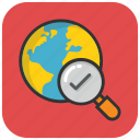 find location, globe with magnifier, global view, global search, discovery icon