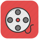 cinema, movie reel, movie strip, multimedia, video reel icon