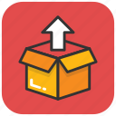 delivery box, delivery package, open box, outbox, unpacked box icon
