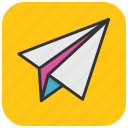 mail sending, paper aeroplane, paper airplane, paper plane, send message icon