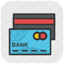 bank cards, cash cards, atm cards, credit cards, plastic money icon