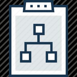 clipboard, diagram, flowchart, hierarchy, management icon