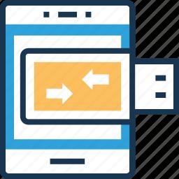 data, data sync, mobile data, smartphone, storage icon