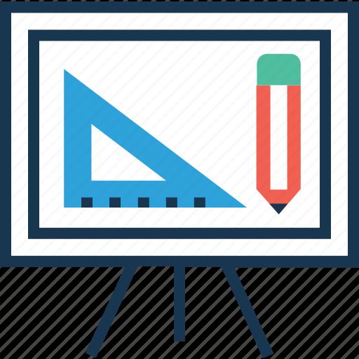 board, design platform, easel board, geometry, pencil icon