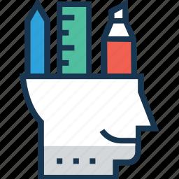 creative mind, development, inspiration, mind, ruler icon