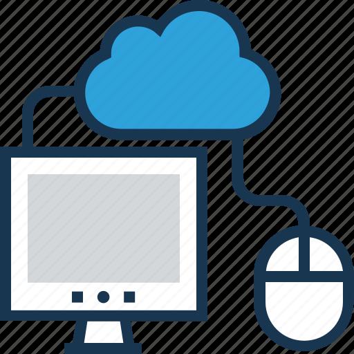 cloud computing, computing, data, monitor, mouse icon
