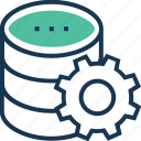 cogwheel, data, data management, network, preferences, storage icon