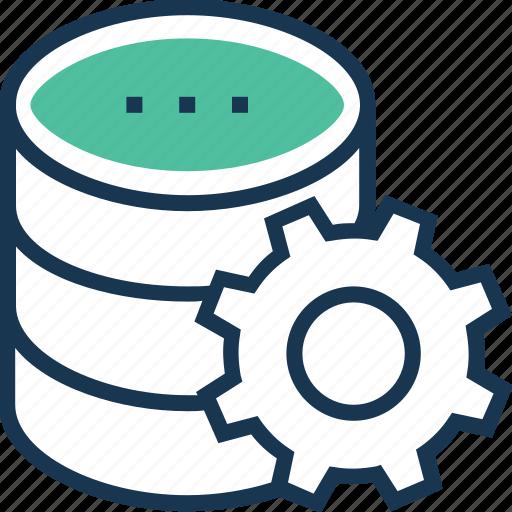 cogwheel, data, data management, network, preferences, storage icon