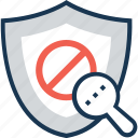 antivirus, block, error, magnifier, network security icon