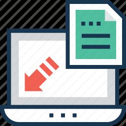 arrow, content, file, landing page, web icon