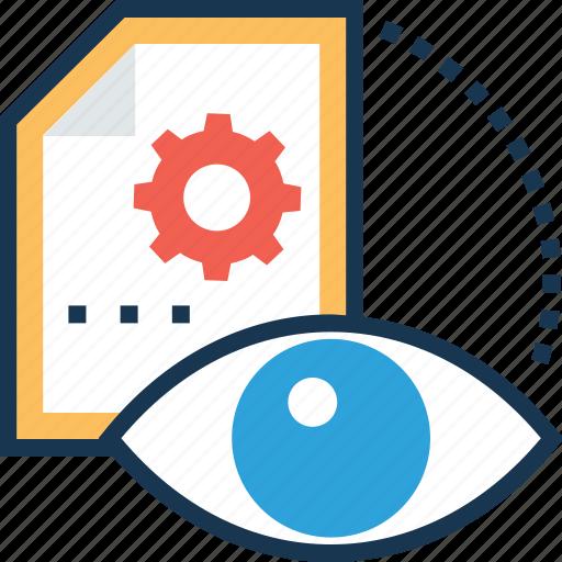 cogwheel, file, preview, search, view icon