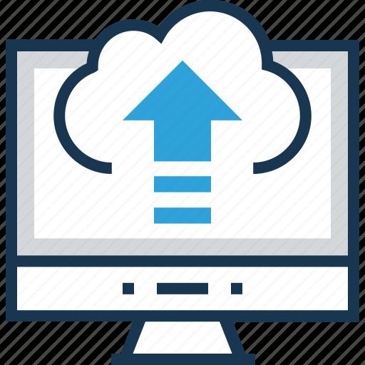 arrows, cloud computing, cloud upload, social, upload icon