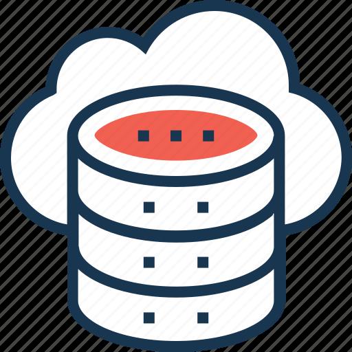 cloud computing, cloud data, data, data encryption, server icon