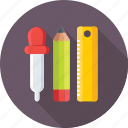 design tools, dropper, pencil, scale, stationery icon