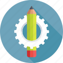 artwork, cog, designing, drafting, pencil icon