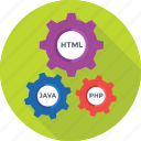 cogs, coding, html, java, php icon
