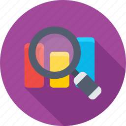 analysis, analytics, graph, magnifier, search graph icon