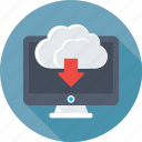 cloud download, cloud network, computing, download, monitor icon