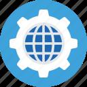 cog, global, globe, internet, world