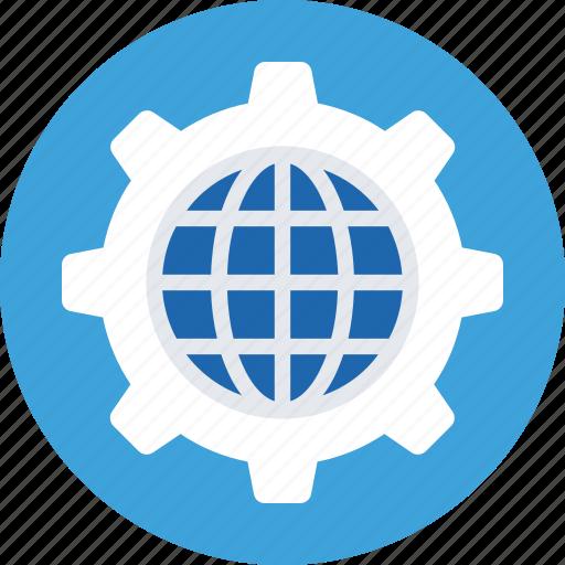 cog, global, globe, internet, world icon