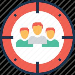 customers target, marketing, seo, target, users target icon