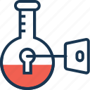 encryption, flask, keyword research, lab, research icon