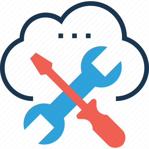 cloud management, preferences, screwdriver, spanner, tools icon