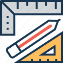 draft tool, geometry, pencil, refine, ruler icon