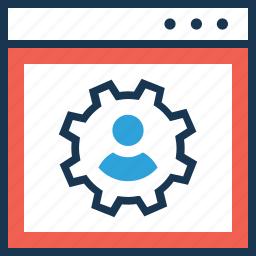 cogwheel, employee, employee management, online, staff icon