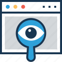 magnifier, monitoring, searching, vision, webview icon