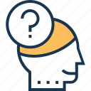 creativity, idea, idea generation, mind, question icon
