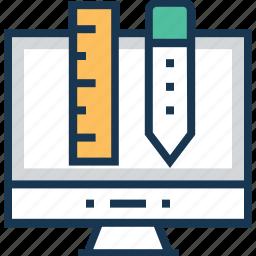 graphic design, illustration, monitor, pencil, ruler icon