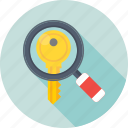 keyword, magnifier, search engine, search keyword, seo icon