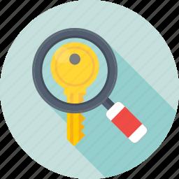 keyword, magnifier, search engine, search keyword, seo icon