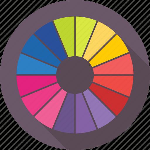 color wheel, colors chart, palette, pantone, swatch icon