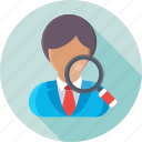 audit, find job, magnifier, usability, user icon