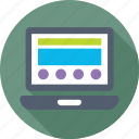 frontend, laptop, layout, template, web design icon