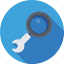 magnifier, optimization, seo, spanner, wrench icon