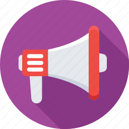 announcement, bullhorn, loud hailer, loudspeaker, megaphone icon