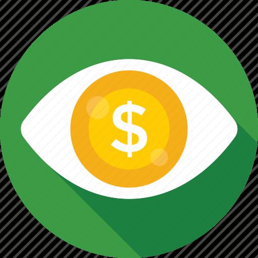 dollar, eye, marketing, seo visibility, visual icon
