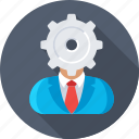 admin, cog, management, person, personalization icon
