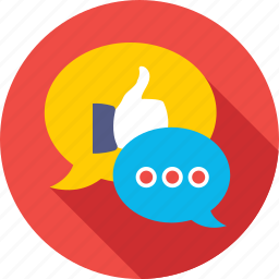 chat bubble, chatting, hand gesture, like, social media icon