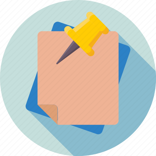 attachment, notes, notice, pushpin, sticky notes icon