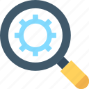 cog, magnifier, networking, optimization icon