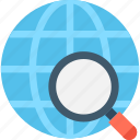 globe, location, magnifying glass, v earth icon