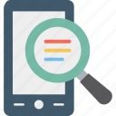 find, magnifying, mobile scanning, mobile search icon