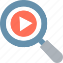 magnifier, multimedia, search video, seo icon