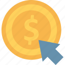 click, dollar, online business, pay per click icon