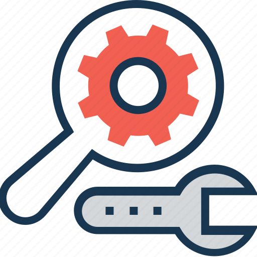 cog, cogwheel, magnifier, search process, spanner icon